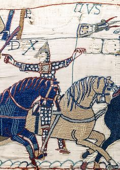 Laid threads, a surface technique in wool on linen. The Bayeux Tapestry, 11th century. (Bayeux Tapestry scene 55 Eustach - Embroidery - Wikipedia, the free encyclopedia)