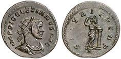 AR/AE Aurelianus. Roman Coin, Roman Empire, Diocletianus 284-305 AD, Lugdunum mint. 290-291 AD. 4,15g. RIC V/2, 228, 83. EF. Starting price 2011: 112 USD. Unsold.