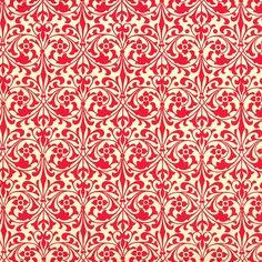 Red Stylized Flower Print Italian Paper ~ Carta Varese Italy
