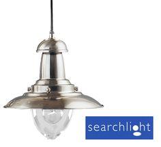 SEARCHLIGHT FISHERMAN 1 LIGHT CEILING PENDANT, SATIN SILVER - 4301SS None