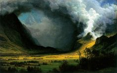 """""""Storm in the Mountains"""" by Albert Bierstadt- Oil on Canvas"""