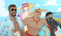 I need a summer akin for Moira and Reaper Overwatch Genji, Overwatch Memes, Overwatch Fan Art, Video Game Art, Video Games, Overwatch Wallpapers, Fanart, Cool Art, Girls