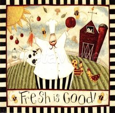 Fresh is Good! French Bistro Cafe Art Print Kitchen ~ ☮~ღ~*~*✿⊱  レ o √ 乇 !! ~