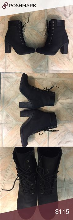 *NEW* Black Timberland Heel Boots NEW Black Timberland Heel Boots. VERY Clean (As seen in the pics), comfort, cute with skinny jeans or skirt.  Size 6 1/2. Timberland Shoes Heeled Boots