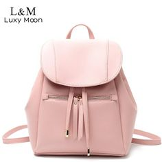 Fashion Women Leather Backpack Solid Drawstring Backpacks Fashion Black White Bags For Teenage Girls Large School Bag Pink Outfit Accessories From Touchy Style. Retro Backpack, Backpack For Teens, Small Backpack, Backpack Purse, Drawstring Backpack, Leather Backpack, Fashion Backpack, Laptop Backpack, Pu Leather