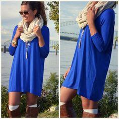 Blue Plain Round Neck Fashion Mini Dress