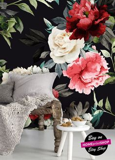 Floral pattern with roses and leaves wallpaper  wall art
