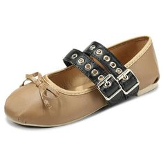 Cosplay Metal Buckle Bowknot European Style Flat Ballet Dance Shoes - Gchoic.com