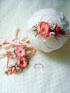df6c8940983 MICAELA - Peach newborn headband prop