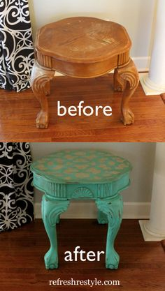 How to go from boring to aqua-li-cious! Cutting Edge Stencils -Table Makeover plus a Giveaway! Furniture Fix, Hand Painted Furniture, Distressed Furniture, Repurposed Furniture, Furniture Projects, Furniture Making, Furniture Makeover, Stenciled Table, Furniture Restoration
