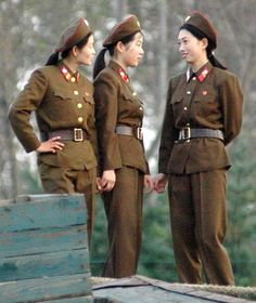 Three women in the North Korean military.