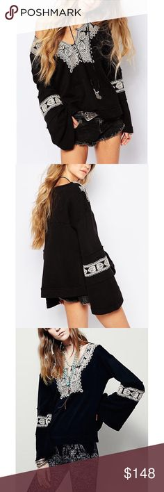 Free People Pullover Santa Maria Brand new. Free People 'Santa Maria' pullover in the color combo black/antique. Free People Sweaters