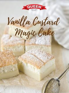 Vanilla Custard Magic Cake - A simple vanilla custard transforms into a triple layer custard cake! Fall in love with its chewy base, creamy middle and cakey top. Vanilla Custard Cake Recipe, Custard Desserts, Custard Recipes, Köstliche Desserts, Dessert Recipes, Vanilla Pudding Desserts, Custard Tart, Magic Cake Recipes, Sweet Recipes