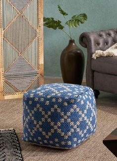 Cube Pouf Ottoman Beautiful Bedrooms For Couples, Boho Designs, Pouf Ottoman, Other Rooms, Mild Soap, Cube, Blue And White, Home Decor, Decoration Home