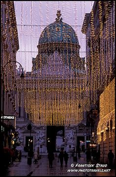 Hofburg silhouette behind Christmas decoration, Kohlmarkt, Vienna, Austria