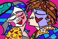 The official website and e-commerce shop for Pop Artist Romero Britto. Buy his collectibles and view his latest artwork reflecting a modern pop art theme. Pintura Wallpaper, Painting Wallpaper, Kunst Picasso, Picasso Art, Arte Pop, Graffiti, Pop Art, Paper Architecture, Funny Art