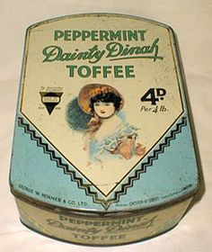 An old Dainty Dinah Toffee tin from the 1930s - The toffees were made in north east England and Dainty Dinah was a real person whose face adorned many such tins.