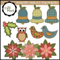 Christmas Clip Art  Vintage 2   clip art digital by TheCoyPond #christmas #clipart