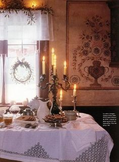 A Swedish Christmas Kitchen - love the tablecloth