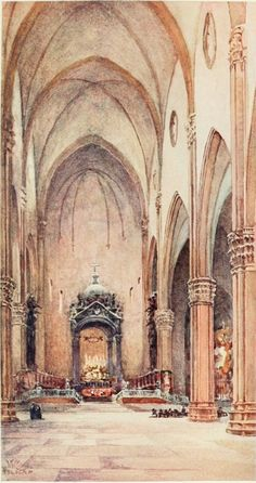 Interior of the Basilica of S. Petronio, Bologna. Watercolour by William Wiehe Collins (1862-1951) http://www.universalcompendium.com/gen_images/ucg/collins%20ww/italian-cities/san-petronio-bologna-william-wiehe-collins-watercolour-painting-italy-cities-cathedral.htm