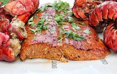 Cedar Plank Salmon and Grilled Lobster Tails Nothing too fancy, just ...