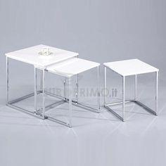 Set 3 Tavolini Tavolino Quadrati Da Salotto Tavolo Design Moderno API-34943323 | eBay
