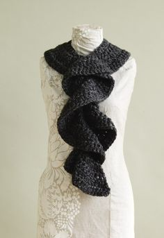 "For Rhonda!!!!! Crochet ruffle scarf from Lion Brand. Another pinner said ""I made this, it is easy and very pretty""."