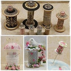 To scrap or not to scrap, that's the question. Wooden Spool Crafts, Wood Spool, Fun Crafts, Diy And Crafts, Paper Crafts, Cotton Reel Craft, Vintage Sewing Notions, Shabby Chic Crafts, Sewing Rooms