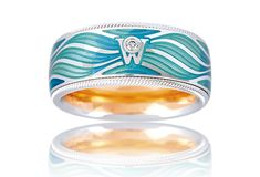 Wellendorff - Magic Waves Ring in 18k White Gold (also available in Yellow Gold), in tones of Blue with Diamond W, it's 9.1mm wide and the Ring rotates | from A Day By The Sea Collection♥♥