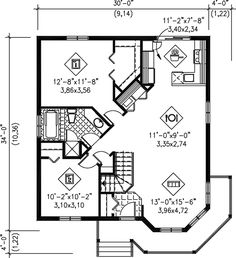 First Floor Plan of Victorian   House Plan 49571