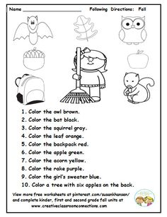 This is a cute fall activity for students to read and follow directions on a fall theme. You can view more free printables at pinterest.com/susankhansen/