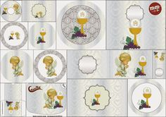 First Communion Free Printable Candy Bar Labels in Silver with Precious Moments Angels.