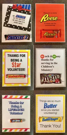 These fun and simple ways to say thank you to your awesome Children& Ministry Volunteers! Appreciation Note, Volunteer Appreciation Gifts, Volunteer Gifts, Gifts For Volunteers, Volunteer Week, Reese's Candy Bar, Candy Bar Gifts, Candy Bar Cards, Candy Party