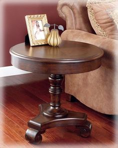 Amazon.com - Signature Design by Ashley Old World Dark Rustic End table - Round Wood Accent End Tables