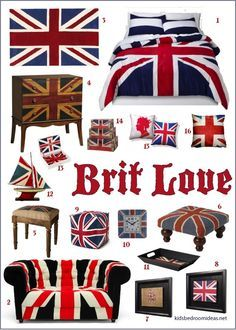 The Union Jack flag is everywhere these days. I've picked out a few of my favorite ways the English flag is being used in home and bedroom decor.LOVE IT SOOOOOOOOOOOOOO much