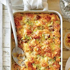 Filling Breakfast Casseroles: Cheesy Sausage-and-Croissant Casserole