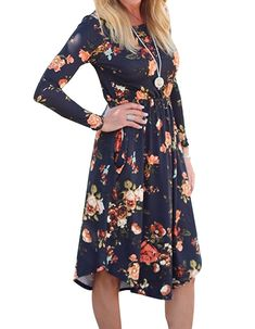 e0f1e550c17 GOLDSTITCH Womens Long Sleeve Floral Pockets Casual Swing Pleated TShirt  Dress with Pockets     Details can be found by clicking on the image.