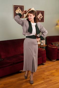 Vintage 1940s Suit - Incredible Dove Grey Gabardine and Green Plaid Jacket and Skirt Set with Diamond Waistband - Moorland...  I die.
