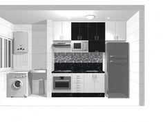 Decoração // Cozinha // Pequena // Planejada // Cores: Branco, Prata e Preto