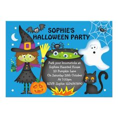 Halloween Party Invitations #halloween #holiday #creepyhollow #cards #postage