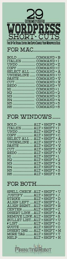 Wordpress Visual Editor Hot Keys (CHEAT SHEET) #blogger