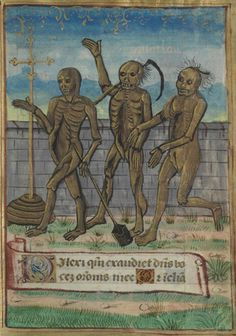 Château-Gontier, Bibliothèque municipale, 0014, detail of f. 092 (the Three Living and the Three Dead). Book of Hours, use of the Abbey of Saint-Nicolas d'Angers. Late 15th/early 16th century.