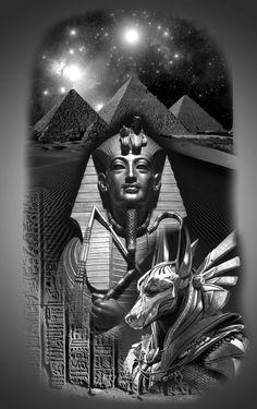 Egypt Tattoo Design, Egypt Concept Art, Cosmos Tattoo, Big Cat Tattoo, Egyptian Tattoo Sleeve, Greek Mythology Tattoos, Forest Tattoos, Ancient Egyptian Art, Tattoo Sleeve Designs