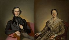 Antoine Plamondon. Canada (1804 - 1895). Joseph Guillet dit Tourangeau, fils (Joseph Guillet dit Tourangeau, son) and Madame Joseph Guillet dit Tourangeau, née Caroline Paradis, 1842. Oil on canvas. 91 x 76.2 cm and 91.3 x 76.6 cm. Conservation treatment by Centre de conservation du Québec.1956.467 and 1956.468.   Lent by: Musée national des beaux-arts du Québec to 100 Masters Only in Canada at the Winnipeg Art Gallery, May 11 - Aug 11, 2013. See you there! Canadian Art, Art Gallery, Madame, Joseph, Musée National, Victorian, Fine Art, Dit, Artist