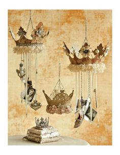 Crowned with christmas ornaments would look beautiful