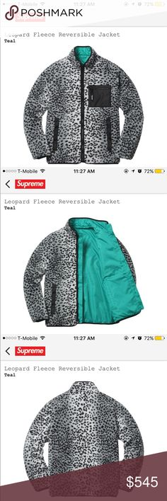 Supreme Leopard Fleece Reversible Jacket- Teal S Brand New Supreme Leopard Fleece Reversible Jacket- Teal Small FW17 with tags! CONFIRMED ORDER! Will ship the item the same business day it arrives to me! DM aman.mah on IG or text 2️⃣0️⃣1️⃣7️⃣0️⃣5️⃣2️⃣0️⃣8️⃣1️⃣ for a cheaper price! Supreme Jackets & Coats Lightweight & Shirt Jackets