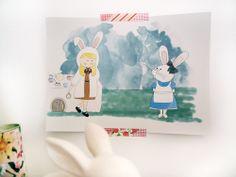 Ilustración Cuentos confundidos Alicia en el País por milowcostshop Alice in Wonderland, Confused tale. A cute draw with pastel colors and a backward history