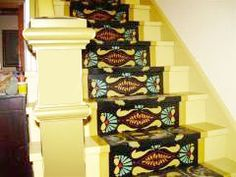 """I thought you might like to see my finished stairs; I used your very wonderful Dr. Dyer's Place stair stencil. Your products are the best.""""    - Diane Nazar  (from M B Historic Decor...they do custom stencils also and design features)"""