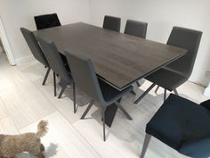 Extendable version of our Xenon dining table with Blaze Dark ceramic top and Graphite frame. CANDY dining chairs in Ultra Anthracite faux leather and Graphite legs. Delivered to our client in Rickmansworth. Dining Chairs, Dining Table, Leather Bed, Sofa Design, Modern Bedroom, Contemporary Furniture, Graphite, Candy, Ceramics
