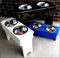 Items similar to Raised Dog Bowl Feeder Shabby Tall on Etsy Raised Dog Feeder, Raised Dog Bowls, Wood Furniture, Furniture Ideas, Dog Bowl Stand, Saint Bernards, Dog Food Bowls, Food Stations, Gentle Giant